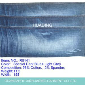 Horizontal Straight Bamboo Cotton Elastic Denim Jeans Fabric (R5141) pictures & photos