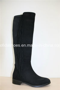 Latest Fashion Flat PU Ladies Boots with Fringes pictures & photos