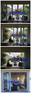 Custom Double Glazing Aluminium Folding Door pictures & photos
