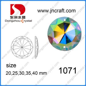 Dz-1071 Flat Back Ab Color Mirror Round Glass Beads with Holes for Garment pictures & photos