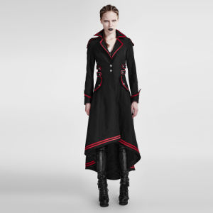 Y-675 Gothic Winter Turn-Down Collar Fitted Red-Piped Long Coats with Big Pockets pictures & photos