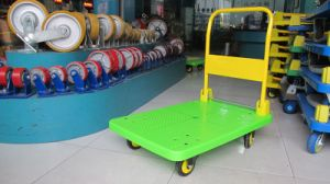300 Kg Green Color Platform Handcart Noiseless Plastic Trolley pictures & photos