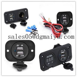 Car Motorcycle Power Port Dual USB Adapter Charger +12V/24V Cigarette Lighter Socket + Digital Voltmeter Outlet for Phone iPod pictures & photos