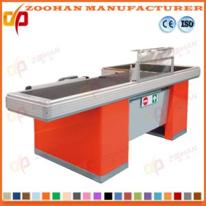 Supermarket Shop Electric Cashier Checkout Counter with Conveyor Belt (Zhc14) pictures & photos