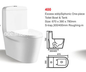 Ceramic Siphonic One-Piece Toilet (No. 400) S Trap, 300/400mm Roughing-in pictures & photos