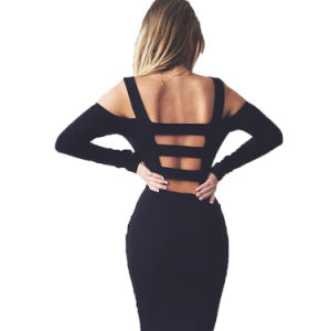 Black Hot Sexy Backless Spaghetti Strap Bodycon Slim Dress 2016 pictures & photos