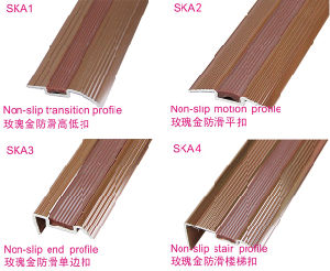 Alu Stair Nose at L Shape with Rose Rubber Slip-Proof and Nail Hidden pictures & photos
