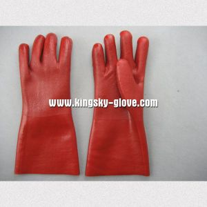 Sandy Finish Jersey Liner Guantlet Cuff PVC Glove-5125. Rd pictures & photos