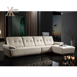 White Leather Sofa with Chaise (861)