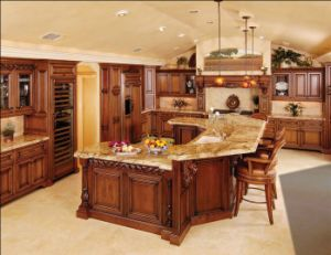 European Style Teak Wood Kitchen Cabinet pictures & photos