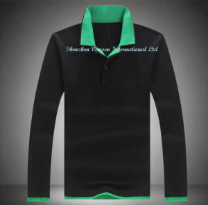 Long Sleeve Men′s Polo T Shirt in Black pictures & photos