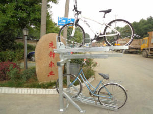 New Design Two-Double Outdoor Black Powder Coated Parking Bike Rack PV00090 pictures & photos