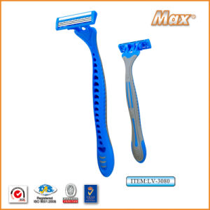 Triple Stainless Steel Blade Disposable Shaving Razor (LV-3080) pictures & photos