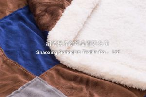 Mink with Shu Velveteen Sherpa Fleece Blanket / Mink Mosaic pictures & photos