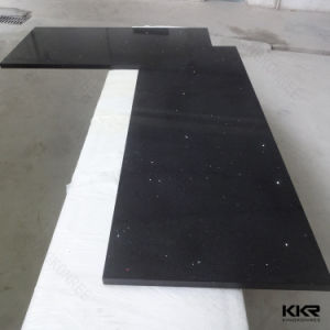 Customized Black Solid Surface Quartz Stone Kitchen Countertop (C1705262) pictures & photos