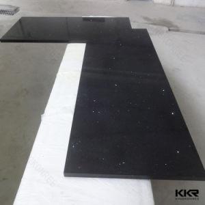 Customized Black Solid Surface Quartz Stone Kitchen Countertop pictures & photos