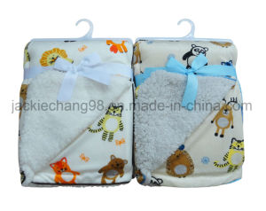 Printed Mirco Mink Solid Sherpa Baby Blanket pictures & photos