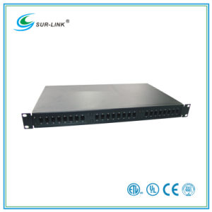 19′′ 1u 24 Ports Rack Mounted Fiber Optic Patch Panel LC St FC Sc Type pictures & photos