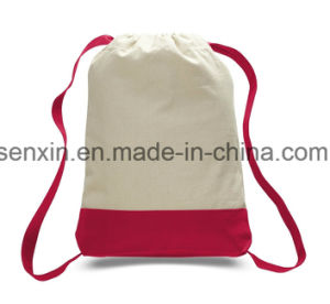 Cotton Drawstring Backpack Bag, Zippered String Bag pictures & photos