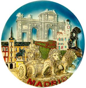 Hot Sale Polyresin 3D Spain Madrid Souvenir Plate for Sale pictures & photos