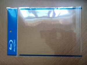 Transparent OPP Sleeve /OPP Self Adhesive Bag/Clear Plastic Bag with Single Blue Ray Logo