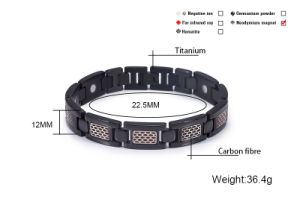 Hottime Black and Gold Plated Titanium Energy Bracelet with Ion pictures & photos