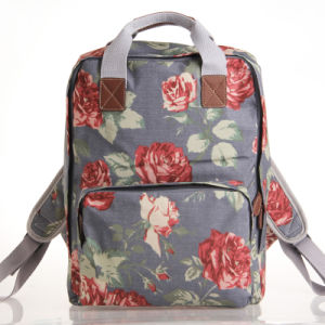 Retro Floral Patterns Waterproof PVC Canvas Grey Backpack (23199)