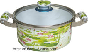 Belly Shape Casserole with Glass Lid, with Colorful Decor pictures & photos