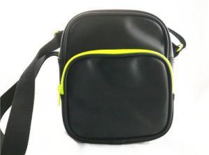 Black PU Messenger Bag with Neon Green Piping pictures & photos