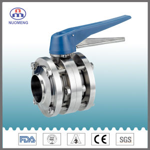 Sanitary Stainless Steel Manual Welded Three-Piece Butterfly Valve (ISO) pictures & photos