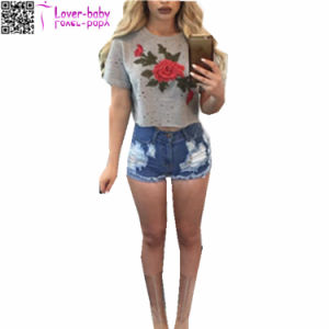 Women Casual Rose Floral Print Short Sleeve Crop Tops 573-1 pictures & photos