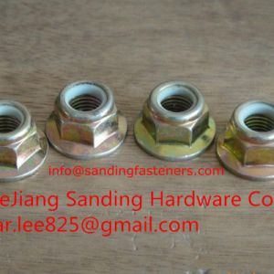 Gr8 Yellow Zinc Plated Hex Nylon Flange Lock Nuts pictures & photos