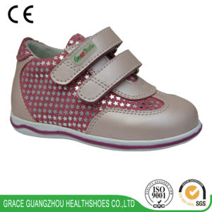 Cute Kids Leather Shoes Children Stability Shoes for Preventing Flat Foot pictures & photos