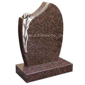 Granite Upright Gravestones with Flower Design for Sale pictures & photos
