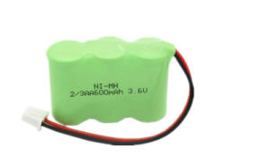 Ni-MH 2/3AA 3.6V 600mAh Rechargeable Cordless Phone Battery Pack pictures & photos