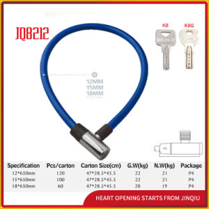 Jq8212 Three Colors Security Bicycle Lock Motorcycle Steel Cable Lock pictures & photos