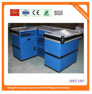 Supermarket Retail Stainless Cash Counter with Conveyor Belt 1053