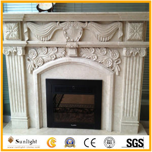 White Marble Stone/Limestone/Travertine Fireplace Mantel/Fireplace with Good Carving pictures & photos
