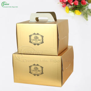 Glossy Gold Paper Packaging Boxes for Birthday Cake (KG-PX083) pictures & photos