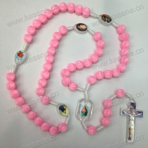 Pink Knotted Thread Rosary Necklace, Rope Cord Rosary