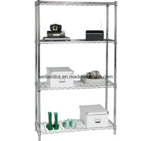 Easy Assembly & DIY 4 Tiers Home Storage Chrome Wire Shelf Rack pictures & photos