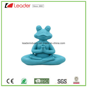New Design Polyresin Blue Yoga Frog Figurine with Meditation for Home and Pool Decoration pictures & photos
