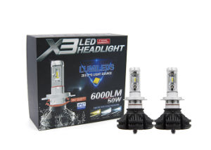 New Fanless Super Bright X3 Auto LED Headlight 6000lm 50W 9012 H4 H7 LED Car Headlight pictures & photos