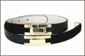 Press Buckle Black Genuine Leather Belt pictures & photos
