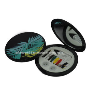 Hot Selling Top Quality Round Shape Mini Travel Sewing Kit with Mirror for Promotion