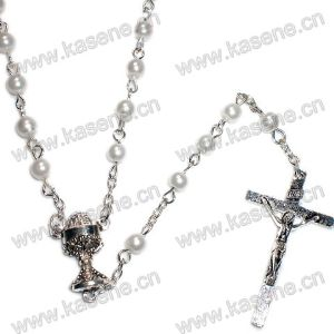 Chain Jewelry Italy Pearl Bead Rosary Cross Pendant Necklace pictures & photos