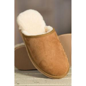 Handmade Winter Sheepskin Leather EVA Slipper for Men pictures & photos