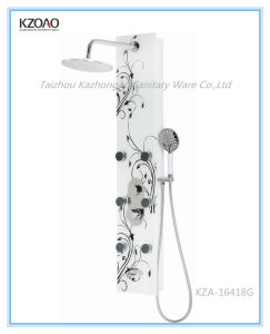 Kza-16418g Chinese Flower Style Tempered Glass Shower Panel pictures & photos