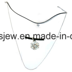 Simple Ssilver Necklace with Leather and Charms (N6856) pictures & photos