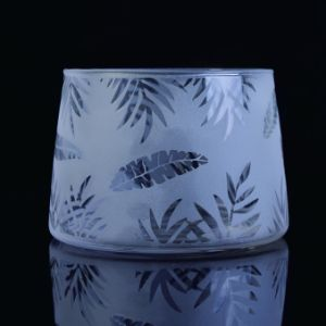Frosted Glass Candle Jar with Decal Printing pictures & photos